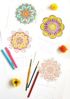 12 gorgeous mandala coloring pages: free Printables plus 5 best tips on how to color beautiful mandalas! Use them as wall decor or turn them into your own hand colored mandalas monthly calendar! Mandala Coloring Pages, Free Coloring Pages, Hand Coloring, Coloring Books, Free Printable Calendar, Free Printables, Paper Star Lanterns, Doodle, Mandalas Painting