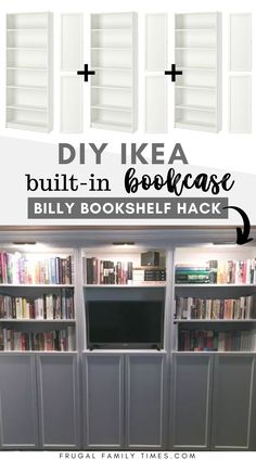 This step-by-step tutorial makes making wall-to-wall bookshelves easy. This IKEA Billy Bookcase Built turned out beautifully. We used the Oxberg doors for hidden storage underneath. Also brass library lights. Another great IKEA hack! We might be addicts now.