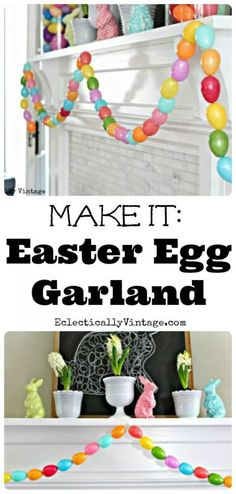 Check out this cute #Easter decor idea with an egg garland. Love it! #HomeDecorIdeas @istandarddesign