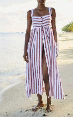 Luxury Nightwear, Beachwear & Swimwear by Three Graces London. Striped Linen, Striped Dress, Cotton Dresses, Cute Dresses, Luxury Nightwear, Boho Fashion, Fashion Outfits, Summer Outfits, Summer Dresses