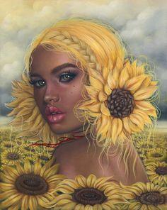 "Image of 'Mirasol' Lmtd Edition Print ""If you want to write, write,"" he said. Art And Illustration, Black Art Painting, Black Artwork, Kunst Inspo, Art Inspo, Black Girl Art, Art Girl, Dope Kunst, Art Sketches"