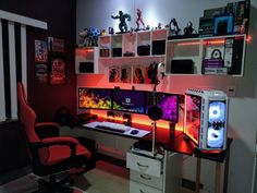 Video Gaming Area Setup Ideas: 5 Must-Haves for PC & Console Gamers - Home Like Art Gaming Desk Setup, Gaming Computer Setup, Gamer Setup, Pc Setup, Gaming Chair Pc, Computer Technology, Deco Gamer, Gamer Bedroom, Geek Room