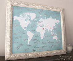 Highlight your wedding destinations around the world with this beautiful vintage map - where you live, where you met, where you wed and where you