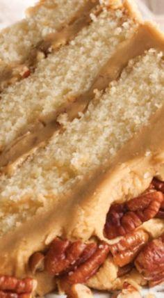 Buttered Pecan Caramel Cake Recipe (serve with butter pecan or plain, vanilla ice cream. Cupcake Recipes, Baking Recipes, Dessert Recipes, Pecan Recipes, Box Cake Recipes, Layer Cake Recipes, Kitchen Recipes, Salad Recipes, Food Cakes
