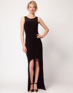 Factory By Erik Hart Sleevless Dress With Long Back & Chiffon Contrast by Factory by Erik Hart
