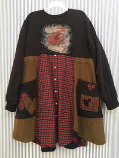 """Upcycled Sweatshirt Dress Artsy Clothing Romantic Chocolate Paris Theme with Roses Black and Red Plaid Patchwork Tunic Oversized fit 2 Big appliqué Pockets Warm Comfortable Easy to wear, just throw on and go! 24 1/2 """" across armpit to armpit 36"""" long Free hips and waist"""