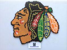 Chicago Blackhawks Indian Head Logo Perler Bead Art by SDKD, $48.00