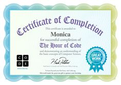 Certificate for Monica