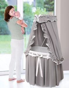 Badger Basket Majesty Baby Bassinet w/Canopy - Gray & White Bedding 30063 NEW #ad