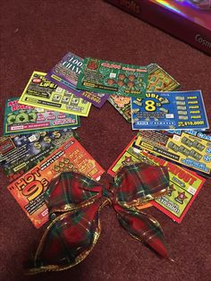 """Wishing you a """"lotto"""" holiday cheer! Merry Christmas! Scratch ticket wreath for bus driver."""