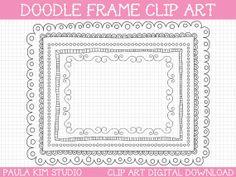 """Doodle Border Frames - 8.5x11"""" - Clipart Instant Digital Download"""
