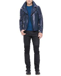 0d3f27008cb1 Belstaff Kettering Leather Biker Jacket Blue in Blue for Men