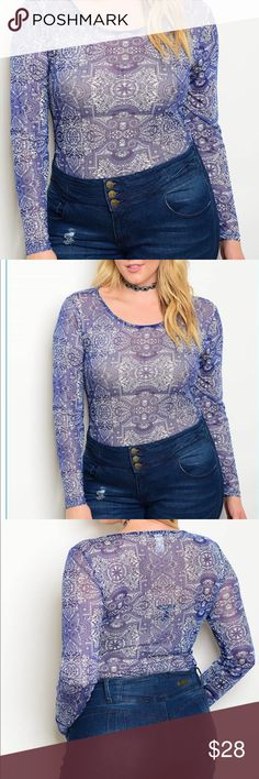 ➕ Plus Size Tribal Print Mesh Bodysuit Size 3X, Brand new, plus size, Mesh Tribal Print Bodysuit With long sleeves. This Bodysuit can be dressed up or down. Blue/White Trend Brokers Boutique Tops