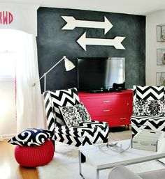 These wooden arrows are a bold addition to your wall decor, great for monochromatic rooms.