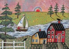 Sailing 5x7inch ORIGINAL Canvas Panel PAINTING FOLK ART Primitive Karla G #FolkArtAbstractPrimitive