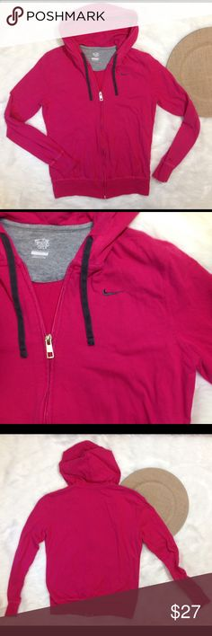 Nike Fuchsia Pink Athletic Track Hoodie Jacket L From Nike Size large Laying flat measures Under arm to under arm 19 inches across From back of neck to bottom 23 inches Pink fuchsia in color Gently used with slight fade from normal wash and wear Zips up the front From a smoke free and pet friendly home Nike Jackets & Coats