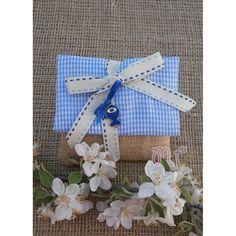 Μπομπονιέρα βάπτισης. Μπομπονιέρες βάπτισης αγόρι φάκελος λινάτσα με ριγέ σιέλ ύφασμα και μεταλλικό ψαράκι Hanukkah, Gift Wrapping, Wreaths, Gifts, Home Decor, Gift Wrapping Paper, Presents, Decoration Home, Door Wreaths