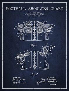 1926 Football Shoulder Guard Patent - Navy Blue by Aged Pixel Football Fever, Sport Football, Patent Drawing, Blues Artists, Navy Blue Background, Framed Prints, Canvas Prints, Patent Prints, Wood Print