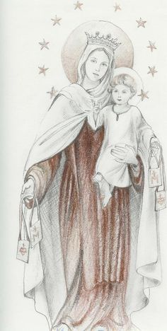 Our Lady of Mount Carmalpencil drawing Mariola K. Paini