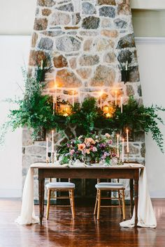Three Unique Wedding Arrangements for One Space photography by Redfield Photography Wedding Mantle, Wedding Fireplace, Wedding Ceremony Backdrop, Wedding Reception Decorations, Wedding Ideas, Wedding Arrangements, Floral Arrangements, Stone Fireplace Decor, Floral Wedding