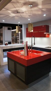 Cool Kitchen Island Red Countertop Cabients And Black Lighting Fixtures For