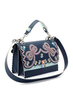 0740170df110 Fendi Kan I Studded Bows Top-Handle Shoulder Bag