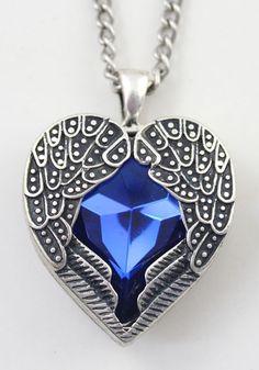 Blue Vintage Alloy Heart Of Ocean Pendant Necklace