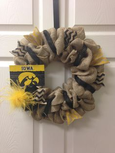 15 Iowa Hawkeye Burlap Wreath by ChristysCraftshop on Etsy, $39.00