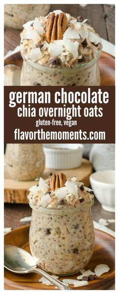 Chocolate Chia Overnight Oats are a wholesome, protein-packed breakfast with the flavors of german chocolate cake! Chocolate Chia Overnight Oats are a wholesome, protein-packed breakfast with the flavors of german chocolate cake! Overnight Oats Receita, Chia Overnight Oats, Chocolate Overnight Oats, Overnight Oats Protein Powder, Protein Oatmeal, Overnight Breakfast, Oatmeal Muffins, Baked Oatmeal, Protein Packed Breakfast