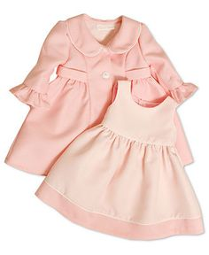 Bonnie Baby Set, Baby Girls Pink Dot Coat Dress Set - Kids Baby Girl (0-24 months) - Macy's