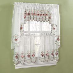 Canjoy International Gisela Rose Kitchen Curtains Kitchen Curtains