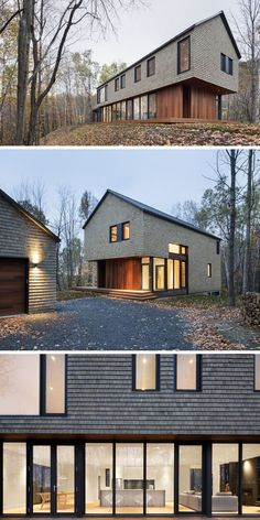 13 Examples Of Modern Houses With Wooden Shingles // Cedar shingle siding feels . 13 Examples Of Modern Houses With Wooden Shingles // Cedar shingle siding feels perfect for a home in a forest in Quebec. Cedar Shingle Siding, Cedar Shingles, House Siding, Siding For Houses, Cedar Houses, Modern Wooden House, Modern Shed, Architecture Résidentielle, Exterior Cladding