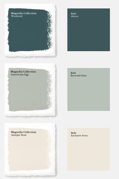 """Magnolia Paint Colors Matched to Behr These days, you'd have to live under a rock to not know who Chip and Joanna Gaines are. Their initial debut was on the infamous HGTV show """"Fixer Upper"""" and since then they have opened a destination spot in Waco, Texas Magnolia Paint Colors, Fixer Upper Paint Colors, Magnolia Homes Paint, Matching Paint Colors, Green Paint Colors, Bedroom Paint Colors, Interior Paint Colors, Paint Colors For Home, House Colors"""