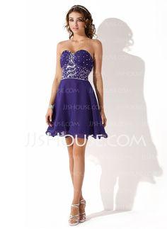 A-Line/Princess Sweetheart Short/Mini Chiffon Homecoming Dress With Ruffle Beading (022008133)