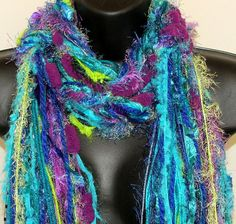 "southernbornnblessed's save of Knotted Scarf All Fringe Scarves Womens Scarf - ""Peacock Feathers""- aqua, royal blue, turquoise,lime - fiber art scarf on Wanelo"