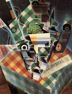 Juan Gris  (1887-1927). Still Life with Checked Tablecloth, 1915. Oil on canvas. Recently donated to the Metropolitan Museum of Art, New York. Part of the Lauder cubist collection.