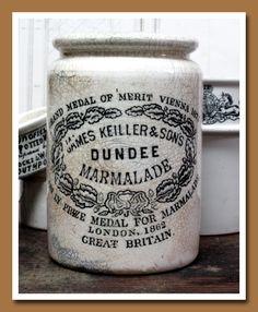 antique English ceramic pot for Dundee Marmalade