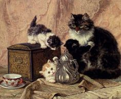 Henriette Ronner-Knip (1821-1909) —  Cat and kittens on the Table, 1877 (1024×842)