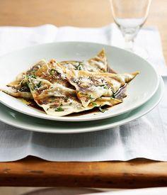 Australian Gourmet Traveller and Coast restaurant Italian pasta main course recipe for beef cheek ravioli with mandarin mustard fruits