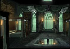 A beautifully done interpretation of the Slytherin dorms. The pool of water/ceiling light is based on the idea of an aristocratic Roman impluvium/compluvium. Gryffindor has a furnace in the center of the dorm rooms, so it seemed like an nice yin-yang effect as Gryffindor=fire and Slytherin=water. I'm not sure if the compluvium would magically let rainwater (and snow, and hail!?) in from the lake above, or not. I think it should. By OriginalCopyCat1874