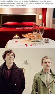 Ah, I will go and...um...find another...uh...room...or a couch. Couch will work, too.<<look at how Sherlocks just smiling