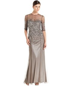 Adrianna Papell Dress, Elbow-Sleeve Sequined Beaded Gown