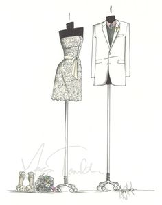 Custom Wedding Gown & Tuxedo/Suit Keepsake Sketch by MeganHamilton, $110.00