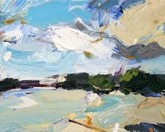 "I see clouds on my walk. These are seagull clouds. Squawky and optimistic. Waiting to be thrown chips. ""Seagull Clouds"", 15X20cm, oil on board. #paint #gallery #abstractexpressionist #art  #onlineart"
