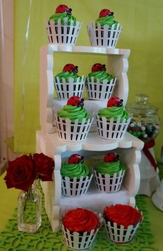 Cute cupcakes at a ladybug birthday party! See more party planning ideas at CatchMyParty.com!