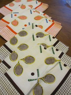 Vintage Tennis Napkins  Set of 6 by MemphisNanney on Etsy, $12.75