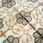 12m2 / 129 sq ft of antique French carreaux de ciments tiles in olive, cream and tangerine