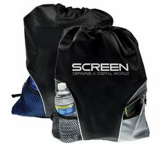 """Backpack is made of 210D polyester. Features drawstring construction with padded adjustable shoulder straps, front mesh pocket, and front zippered pocket. 12 Lbs. max weight.  18"""" W x 16"""" H   http://fundraisingshowroom.com/Drawstring_Backpacks.htm"""
