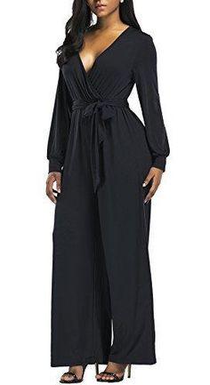 073d216e7498 Black V Neck Long Sleeve Wide Leg Jumpsuit With Belt