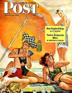 Saturday Evening Post. #vintage #beach #babes